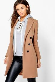 boo hoo clothing faith breasted camel duster coat boohoo