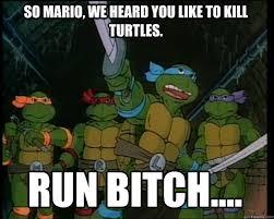 Run Bitch Run Meme - so mario we heard you like to kill turtles run bitch misc