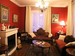 victorian living room ideas homesfeed with red wall white curtains