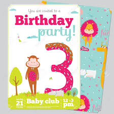 Birthday Party Invitation Card Design Birthday Anniversary Numbers With Cute Animals And Kids And