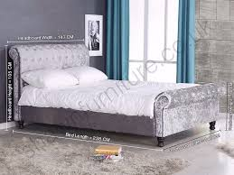 beautiful astral crushed velvet fabric sleigh double size bed