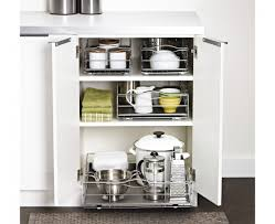 pull out cabinet organizer racks to reduce clutter and utilize all