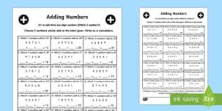 adding 3 numbers adding three one digit numbers new 2014 curriculum page 1