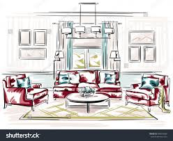 Classic Living Room by Interior Design Classic Living Room Sofa Stock Illustration
