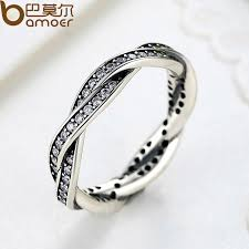 Pandora Wedding Rings by Aliexpress Com Buy 925 Sterling Silver Braided Pave Silver Ring