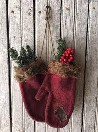 primitive burgundy mitten ornaments winter decor farm