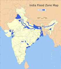 India Physical Map by Map Depicting Areas Prone To Flooding In India