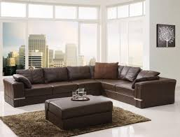 Living Rooms With Dark Brown Sofas Furniture U Shaped Leather Sectional Sofa In Dark Brown For