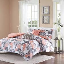 Girly Comforters Amazon Com 4 Piece Girls Pink Grey Floral Theme Comforter Twin Xl