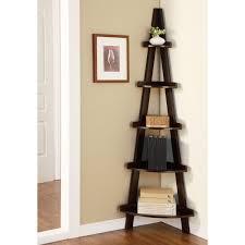 Espresso Corner Bookcase Elise Corner Ladder Display Stand Espresso Walmart