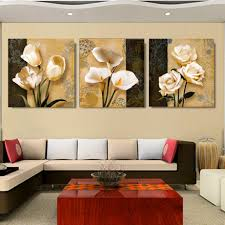 Livingroom Paintings No Frame 3 Piece Brown Orchid Modern Art Deco Mural Painting The