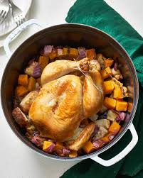 alton brown whole chicken a whole roasted chicken dinner in a dutch oven kitchn