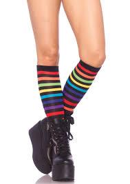 s rainbow stripe knee high socks black of socks