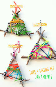 easy twig string ornaments pink stripey socks