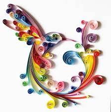 quilled paper art colourful hummingbird