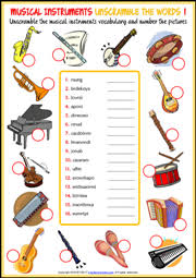 musical instruments esl printable worksheets and exercises