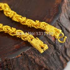 gold filled chain necklace images Double dragon heads bones link necklace chain men 39 s cool solid 24k jpg