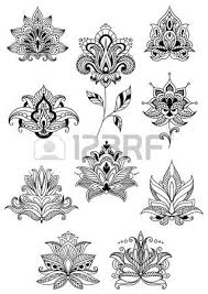 indian persian and turkish paisley flowers set in outline style