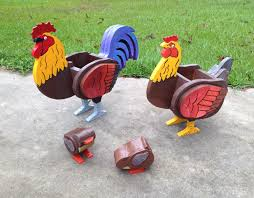 wooden animal planters rooster chicken and by