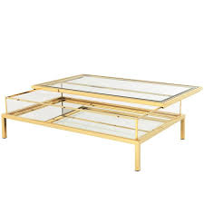 mirrored glass coffee table slide coffee table in gold finish with clear glass and mirror glass