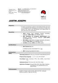 mca resume format for freshers pdf mca fresher resume doc formats for freshers 2017 sle format