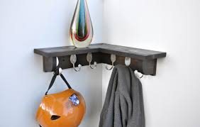 6 spoon hooks coat rack with 16 inch corner shelf in any color zoom