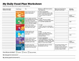daily food plan worksheets from the usda choose my plate website
