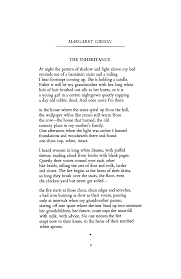 a pattern of shadow and light the inheritance by margaret gibson poetry magazine