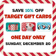 buy gift cards at a discount target gift card discount save 10 on dec 20 only bargains to
