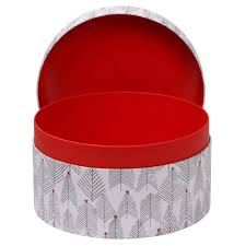 scandi tree large round christmas gift box