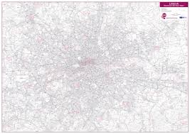 Postcode District Wall Map Poster Within M25 With Size