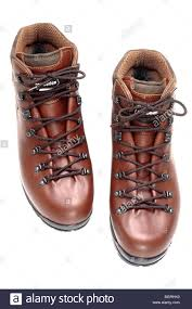 pair of mens brown leather walking boots size 10 stock photo