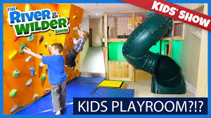 kids playroom with indoor slide and climbing wall kids tv youtube