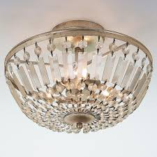 Flush Ceiling Lights For Bedroom Antiqued Crystal Basket Semi Flush Ceiling Light Ceiling