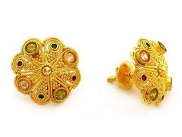 design of gold earrings ear tops 22k 24k gold ear studs with weight and price tops design