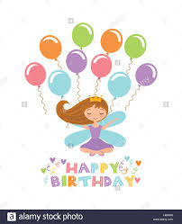 happy birthday card with cute fairy and balloons icon over