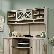 sauder costa chalked chestnut desk hutch 419958 the home depot