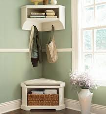 modern entryway with pottery barn corner bench pale green wall