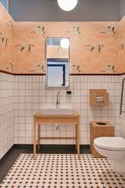 industrial bathroom ideas colorful bathroom with stork wallpaper and colorful tile home