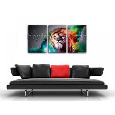large colorful lion head animal abstract canvas art print home