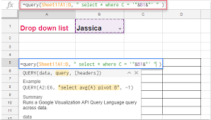 how to filter data based on drop down list in google sheet