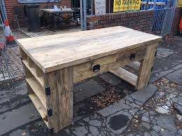industrial style reclaimed wood kitchen island with integrated