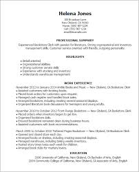 warehouse resume skills summary customer 1 bookstore clerk resume templates try them now myperfectresume