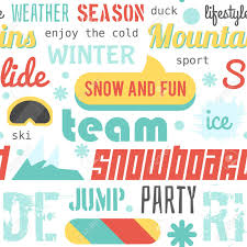 pattern design words seamless vector pattern with snowboarding stuff and words flat