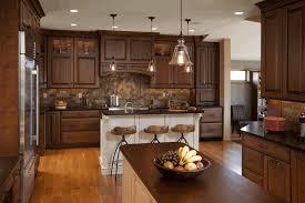Light Brown Kitchen Cream Marble Tile Backsplash Dark Mahogany Kitchen Cabinet White