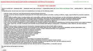 human resources manager work experience certificate