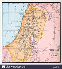 Map Of Palestine Map Of Palestine Under The Maccabees Bc 100 Stock Photo Royalty