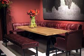 Banquette Chair Wooden Dining Table Big Flower Vase Comfy Maroon Banquette Seating
