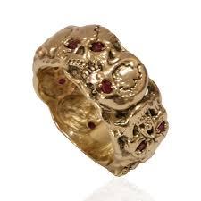 10k solid gold ruby color stone scull band masonic memento mori