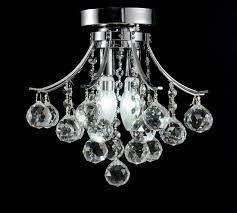 Crystal Flush Mount Ceiling Light Fixture by Diamond Life Modern Style 2 Light Chrome Finish Crystal Chandelier